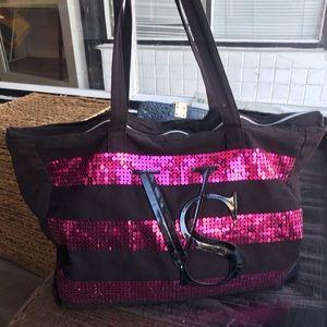 Victoria's Secret Black w/Pink Sequins ZipTop Tote